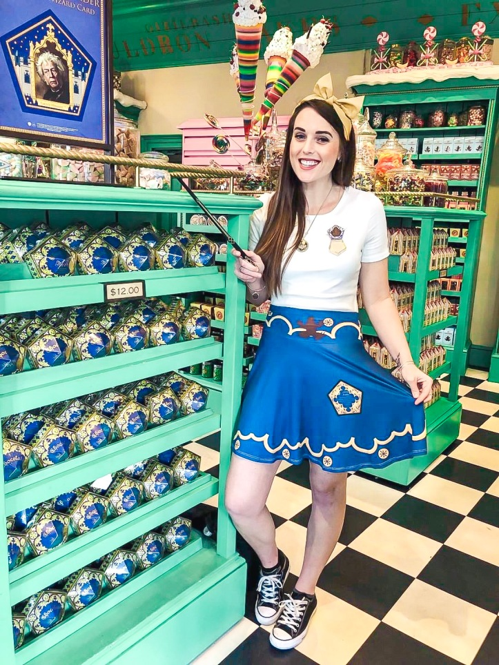 870d36ef30 I love how Megan chose to style the outfit with a simple white shirt  adorned with a Chocolate Frog pin! This is such a fun and stylish Harry  Potter outfit.